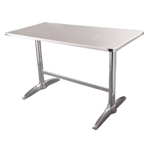 Bolero Table de jardin rectangulaire en acier inoxydable et aluminium 120 x 60 cm