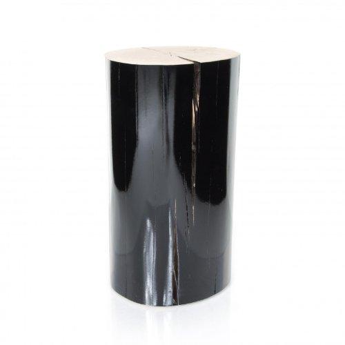 Gervasoni Log Beistelltisch, holz seiten schwarz lackiert glänzend ca. Ø18-22cm, H42cm