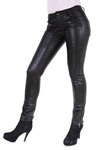 RICANO TALLY PANT Damen Lederhose, Lamm Nappa Echtleder in schwarz (Schwarz, S)