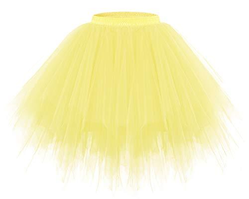 bridesmay Tutu Damenrock Tüllrock 50er Kurz Ballet Tanzkleid Unterkleid Cosplay Crinoline Petticoat für Rockabilly Kleid Yellow L