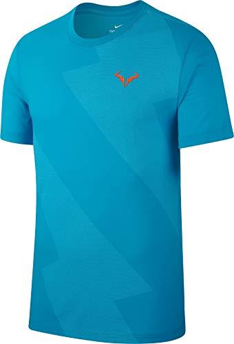 Nike M Nkct Rafa Tee Short Sleeve T-Shirt, Herren XL Blau/Orange (lt Blue Fury/Total orange) (Nike Nadal)