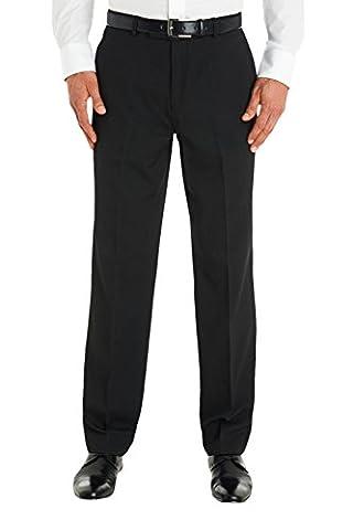 Moss Esq. Men`s Regular Fit Flat Front Charcoal Stripe Suit Trousers 38L Grey