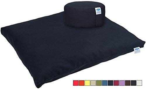 Calmingbreath Yoga Set Meditationskissen und -matte - mit abnehmbarem, waschbarem Bezug aus Baumwolle