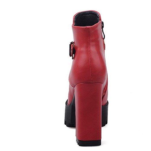 VogueZone009 Damen Reißverschluss Rund Zehe Hoher Absatz Pu Leder Stiefel mit Schnalle Rot