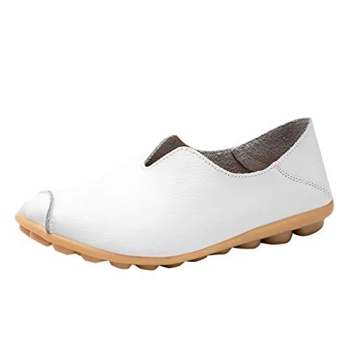 OSYARD Damen Mokassin Bootsschuhe Leder Loafers Fahren Flache Schuhe Halbschuhe Slippers Erbsenschuhe Bequeme Slip Ons Freizeitschuhe