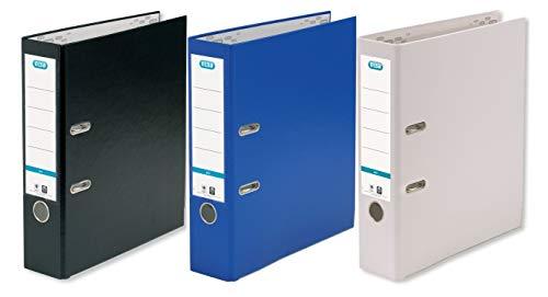 ELBA Ordner smart Pro 3er Pack 8 cm breit DIN A4 3 Farben schwarz weiß blau