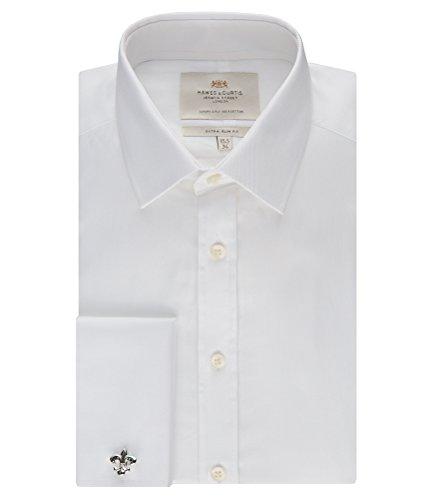 Herren Koeper Extra Slim Fit Umschlagmanschette Buegelleicht Kragenhemd Hemd Top Weiß