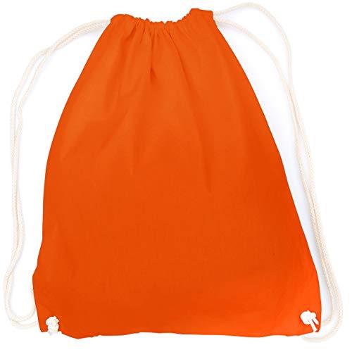 vanVerden - Turnbeutel aus Baumwolle - Orange blanko/unbedruckt - oranger Stoff-Beutel mit Kordelzug Verschluss -
