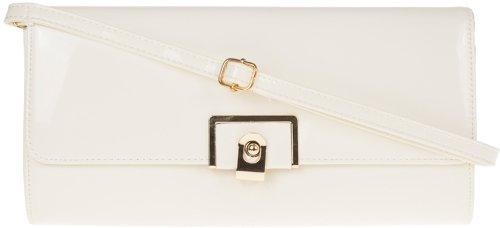 H&G Brevetto Ladies ecopelle lucido moda frizione  borsa da sera White_