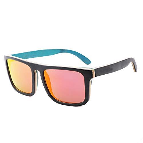 Zbertx Vintage Frauen Männer Holz Sonnenbrille Übergröße Rechteck Polarisierte Sonnenbrille,Pink Lens (Frauen Sonnenbrille Ray Ban Pink)