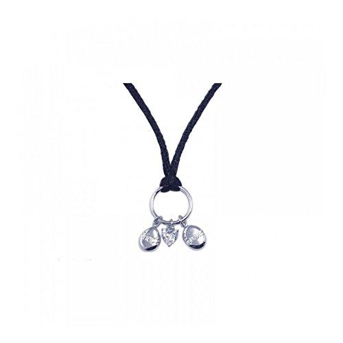 Rhodiumüberzogenes Sterlingsilber Charm Heller Kubischer Zirkonia Anhänger Leder Halsband (Charm 10k Cross Gold White)