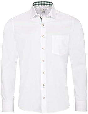 Almsach Trachtenhemd Manuel Slim Fit in Weiß und Dunkelgrün Inklusive Volksfestfinder