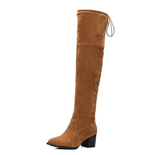 VogueZone009 Donna Allacciare Scarpe A Punta Tacco Medio Alta Altezza Stivali con Nodo, Giallo, 33