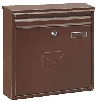 Rottner Briefkasten Teramo Stahl Braun, Mailbox, Postkasten, Zaunbriefkasten, 2 Einwurfsmöglichkeiten, Namensschild