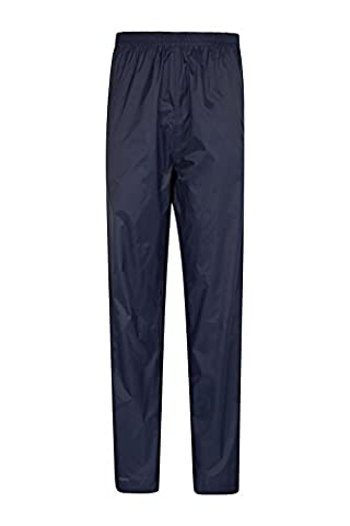 Mountain Warehouse Pakka Women's Waterproof Overtrousers - Breathable, Waterproof, Velcro Ankle Opening with Pack Away Bag - Ideal for travellers and hikers Navy
