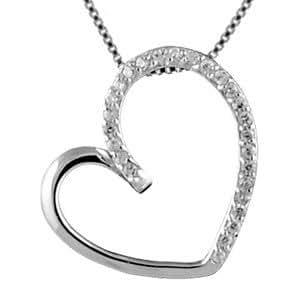 1001 Bijoux - Collier argent rhodié pendentif gros coeur pierres blanches
