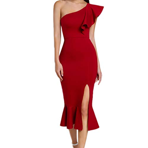 Beikoard Damen One-Shoulder Bleistift-Kleid Sexy Cocktailkleid Partykleid Club Rüsche Meerjungfrau Kleid Elegant Abendkleid - Shoulder One Meerjungfrau Rot Kleid