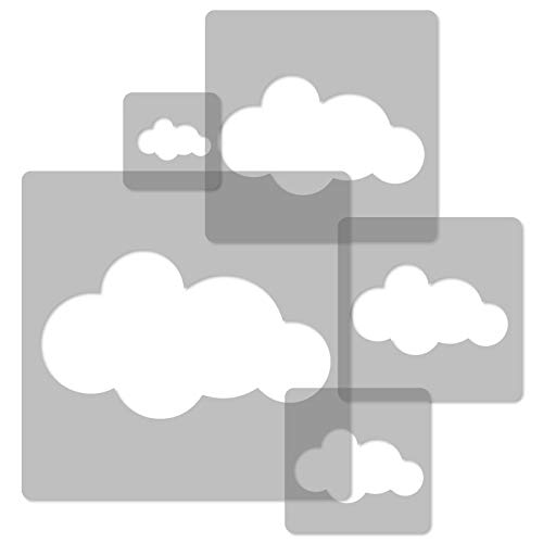 5 Stück WIEDERVERWENDBARE Schablonen aus Kunststoff // CLOUD # 2 // Wolke // 34 x 34 cm bis 9 x 9 cm // Kinder Room Decor // Kinderzimmer Vorlage (Flexible Wiederverwendbare Kunststoff-schablone)