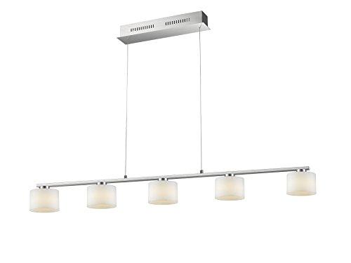 Trio Leuchten LED Pendelleuchte, Integriert, 6 W, Nickel Matt, Glas Opal Weiß, 5-flammig