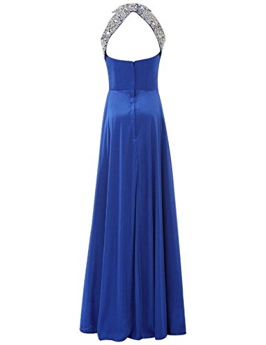 Dresstells Robe de cérémonie Robe de soirée emperlée longueur ras du sol Bleu