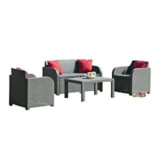 Allibert 4-Seater Oklahoma Lounge Set with Cushions - Graphite Grey