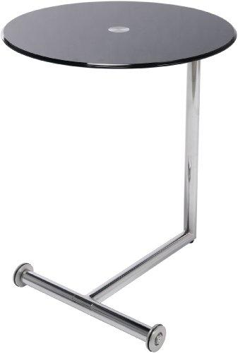 Kare Design Table D'Appoint Plateau Verre Noir