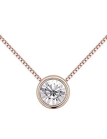 FANSING Bijoux Cadeau Femmes Rond Cristal Solitaire 0.7*0.7cm Pendentif Simple Colliers 40+5cm