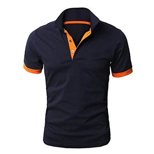 Poloshirt Herren,Männer Persönlichkeit Kurzarm Shirts Casual Solid Color Pullover Shirt Bluse mit Stehkragen Grundlegendes T-Shirt Fitness Shirt Herren Tops Polo Sweatshirts