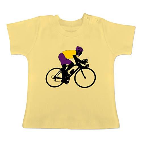Sport Baby - Rennrad Triathlon - 1-3 Monate - Hellgelb - BZ02 - Baby T-Shirt Kurzarm
