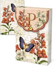 Punch Studio Floral Monogram Pouch Note Cards- #56976P (Letter P) by Punch Studio