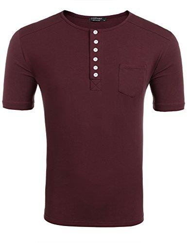 COOFANDY Herren T-Shirt Oberteile Sweatshirt Rundhalsausschnitt Knopfleiste Baumwolle Slim Fit Super Komfort Sommer Wine Rot