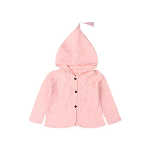 Luckycat Baby Kleinkind Infant Baby Kinder Mädchen Jungen Solide Warme Kapuzenmantel Outfits Kleidung (Rosa, 24M--100cm)