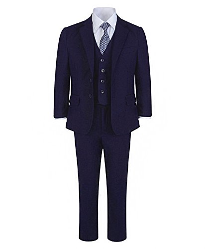 LotMart Jungen 5 Stück formelle Anzug Jacke Weste Krawatte Hemd Hose Hochzeit Party und gratis Geschenk LotMart Promotion Stift mit jeder Päckchen - Marine, 140 (Flacher Front, Gefüttert Voll Anzug)