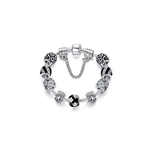 Edelstein Perlen Armband 925 Silver Crystal Charm Bracelet for Women Silver Snake Chain & Murano Glass Black Beads Bracelet Authentic Jewelry PS3493 21cm (Authentic-black Opal Schmuck)