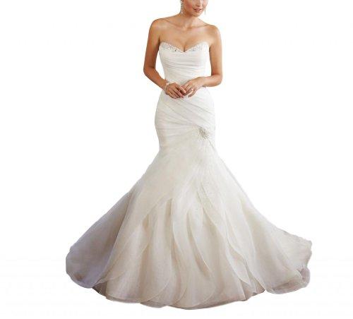 GEORGE BRIDE einzigartiges Design attraktiv Herz-Ausschnitt gestuft Brautkleid, Größe 48, Weiß