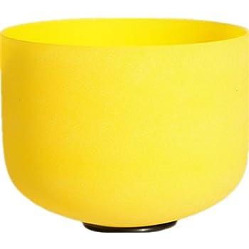 TOPFUND® Gefrostet E Solar Plexus Chakra Gelb Farbe Quarz Kristall Klangschale 20cm