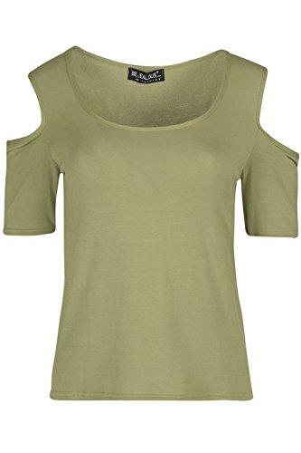 Be Jealous eifersüchtige Damen-Frauen kaltes Schnitt-Schulter-einfaches herausgeschnittenes kurzes Hülsen-Jersey-T-Shirt Oberste Khaki