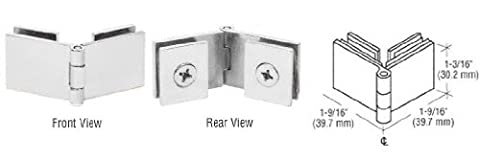 C.R. LAURENCE EH258 CRL Chrome Glass-to-Glass 90 Degree Return Hinge by C.R. Laurence