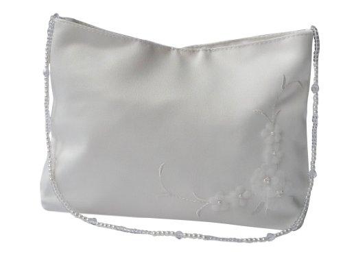 hochzeits-shop-hamburg Brauthandtasche Blüten mit Perlenkette weiß Maße ca.19 * 12cm (Weiße Blume Handtasche Satin)
