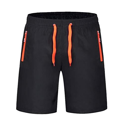 Xmiral Herren Schwimmen Short Hose Badehose Schnell Trocknend Strand Surfen Laufen Sporthosen Kordelzug Gestreift(M,Orange) (Graue Flanell-hose)