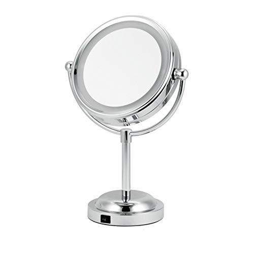 WEGCJU Miroir De Courtoisie Miroir De Maquillage avec Miroir Grossissant Pivotant à 360 ° 1x / 3X 7 '' Miroir De Salle De Bain avec Miroir Cosmétique Portatif De Style Cristal Illuminé par LED,Silver