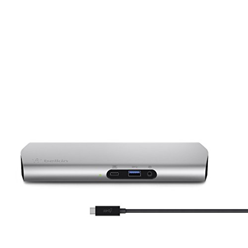 Belkin Express Dock - Base Dock USB-C 3.1 (con Cable USB-C para Macbook/MacBook Pro, 60 W, Compatible 4K, 1 m) Color Plateado