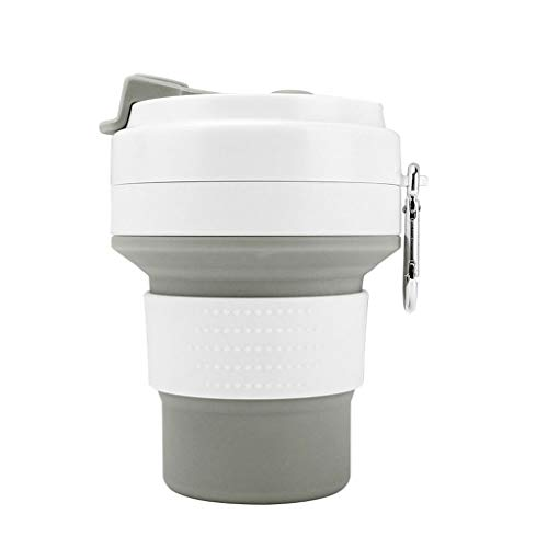 Reise Silikon Faltbare Kaffeetasse, Wiederverwendbare Becher Folding Lightweight Cup Leak Proof Wasserflasche for Outdoor Camping Wandern & Office Heimgebrauch 350ml - Thermoskanne-leak-proof-reise-becher