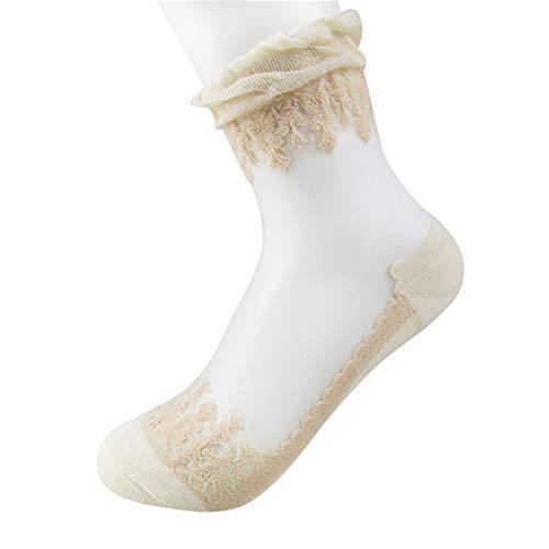 Liumiang Socken,Kompressionsstrümpf,Hot Sales Colorful Ultrathin Transparent Beautiful Crystal Lace Elastic Short Women Socks Pink Sock For Women khaki