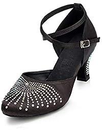 HCCY Zapatos de Baile Latino de tacón bajo con tacón Alto Suave para Damas  Adultas de 4e848395335c