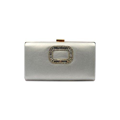 GSHGA Womens Beutel PU-Leder Strasssteine Rechteck-Tasche Schulter Messenger Handtaschen Dinner Bag,Silver Silver