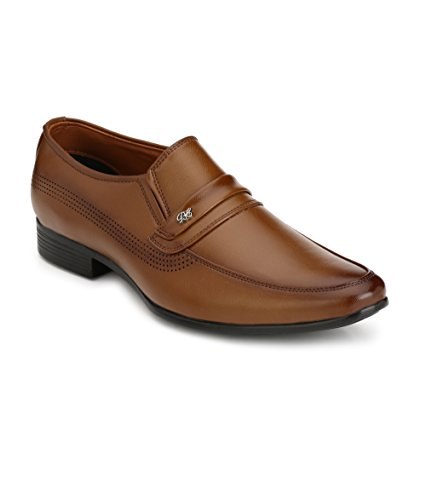 Real Blue Men's Tan Slip On Formal Shoes Size:- 9