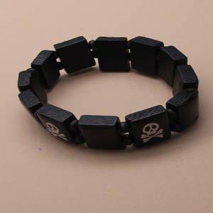 Kostüm Pirat schwarz mit Perlen von Holz Armband - Mia Kostüm Schmuck
