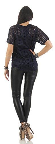 Mr. Shine –Damen Kurzarm Lose Bluse Oversize mit Trägertop Fashion s-xxl Navy Blau