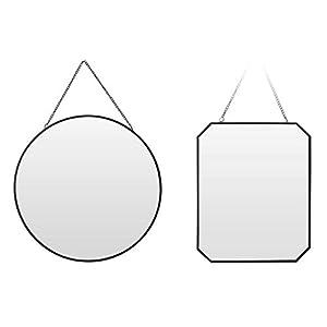 Spiegel rund eckig Wandspiegel Metall schwarz Glas Schminkspiegel Dekospiegel (Rund)